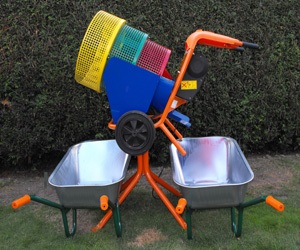 Multidrum soil screener with mixer